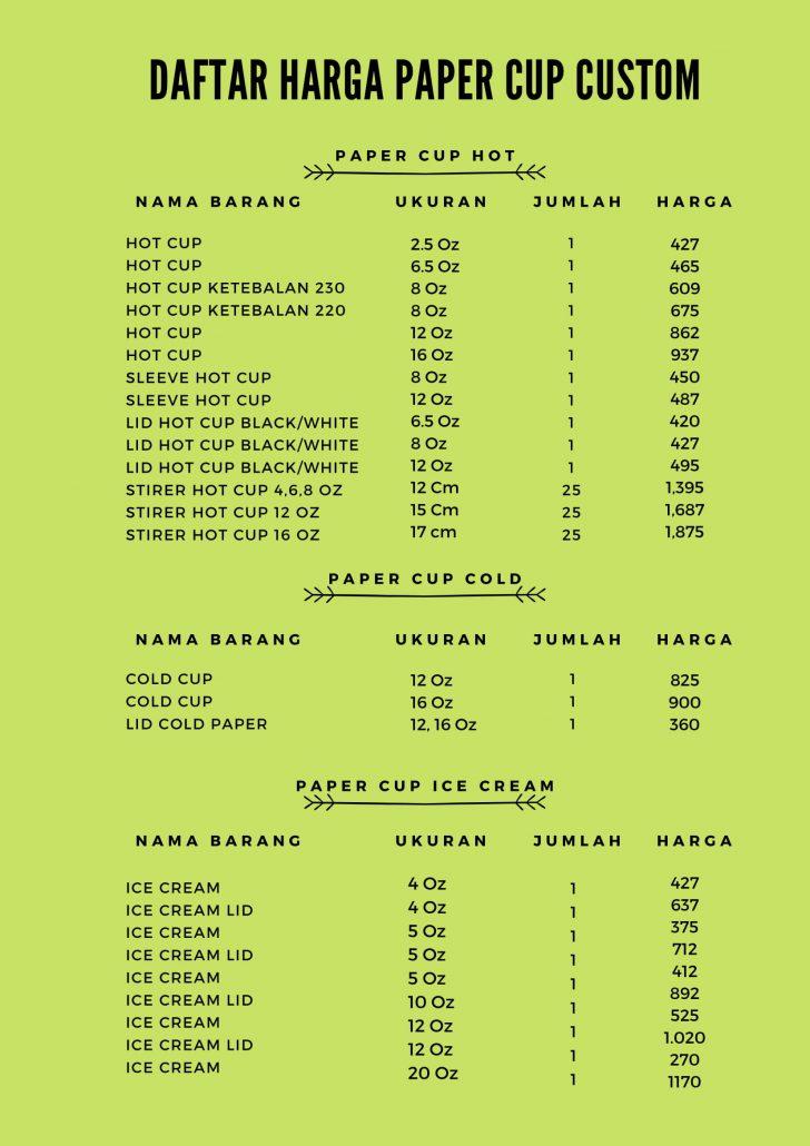 Daftar harga paper cup