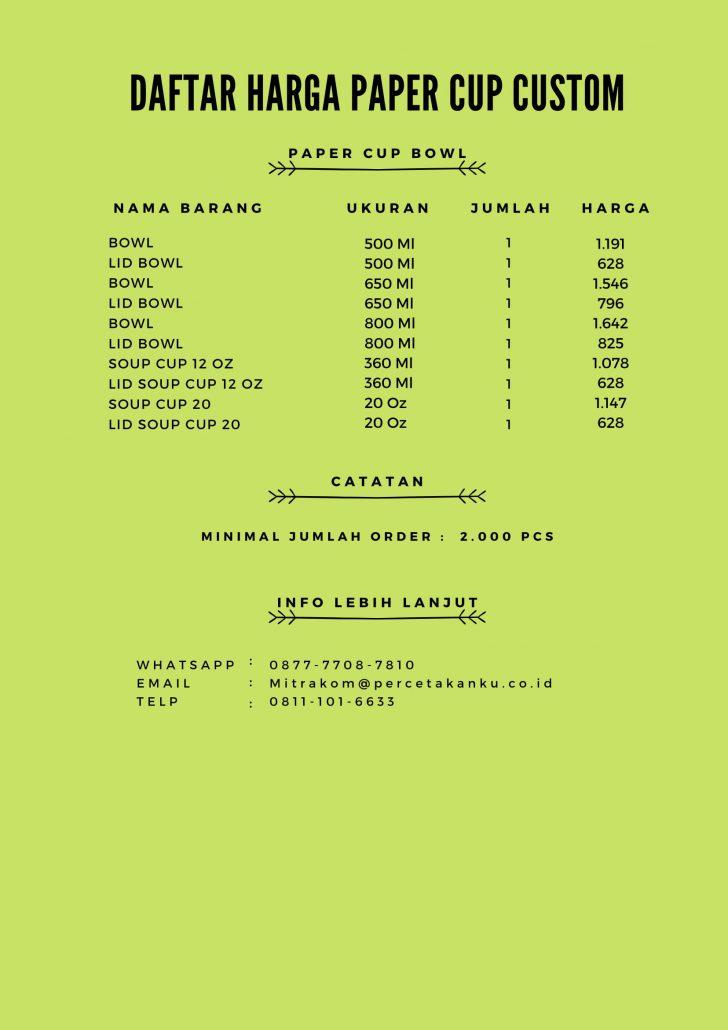 Daftar harga paper cup custom
